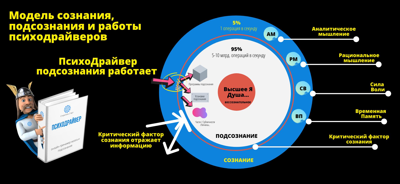 ПсихоДрайвер Подсознания и модель сознания и подсознания (Ассоджиоли и Юнг и МРТ)
